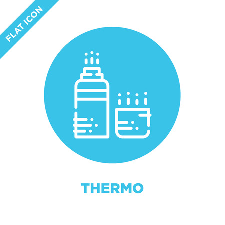 thermo icon vector from camping collection. Thin line thermo outline icon vector  illustration. Linear symbol for use on web and mobile apps, logo, print media. Banque d'images - 123242011