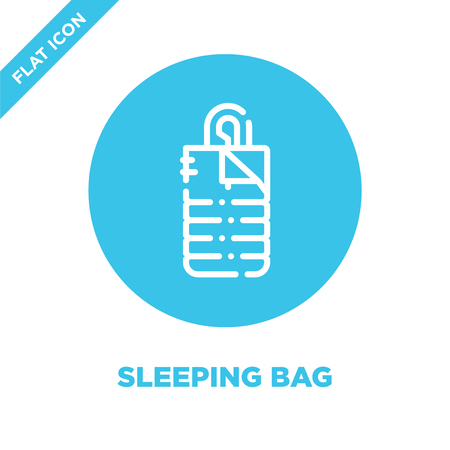 sleeping bag icon vector from camping collection. Thin line sleeping bag outline icon vector  illustration. Linear symbol for use on web and mobile apps, logo, print media.