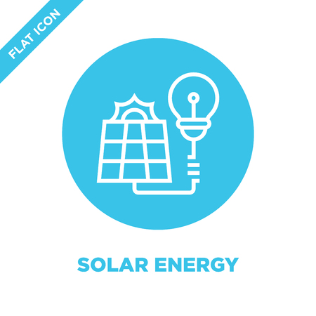 solar energy icon vector from global warming collection. Thin line solar energy outline icon vector illustration. Linear symbol for use on web and mobile apps, logo, print media.