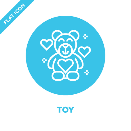 toy icon vector from charity elements collection. Thin line toy outline icon vector  illustration. Linear symbol for use on web and mobile apps, logo, print media. Stock Vector - 123242187