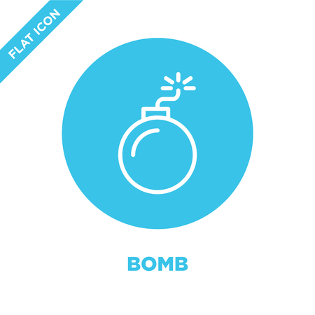 bomb icon vector from military collection. Thin line bomb outline icon vector  illustration. Linear symbol for use on web and mobile apps, logo, print media. Banque d'images - 123242230
