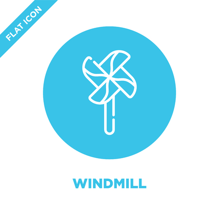 windmill icon vector from baby toys collection. Thin line windmill outline icon vector  illustration. Linear symbol for use on web and mobile apps, logo, print media.