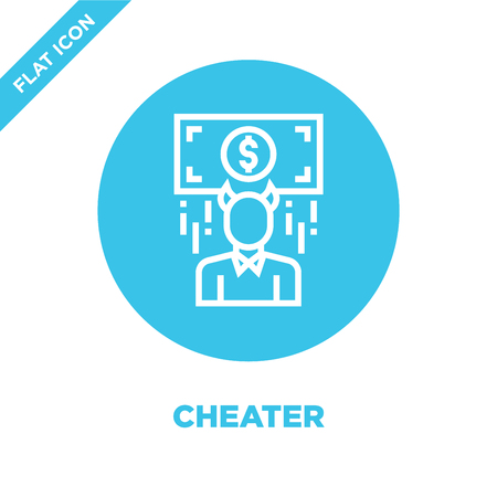 cheater icon vector from corruption elements collection. Thin line cheater outline icon vector  illustration. Linear symbol for use on web and mobile apps, logo, print media. Stock Illustratie