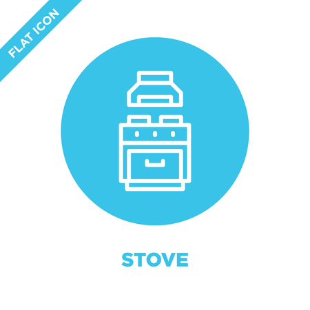 stove icon vector from furnitures collection. Thin line stove outline icon vector  illustration. Linear symbol for use on web and mobile apps, logo, print media.