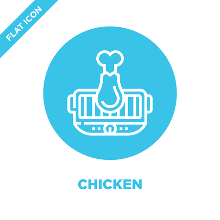chicken icon vector from bbq and grill collection. Thin line chicken outline icon vector illustration. Linear symbol for use on web and mobile apps, logo, print media. Logo