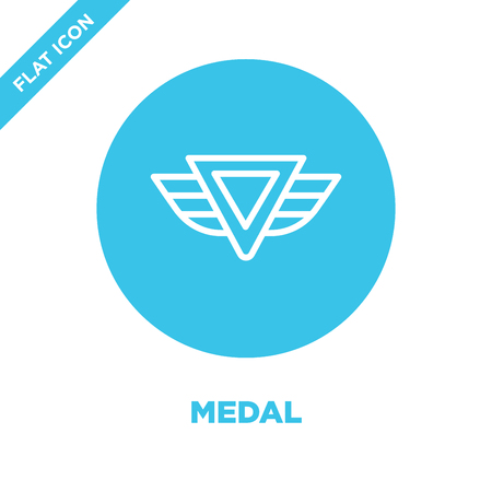 medal icon vector from military collection. Thin line medal outline icon vector  illustration. Linear symbol for use on web and mobile apps, logo, print media. Illusztráció