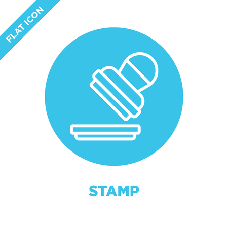 stamp icon vector from stationery collection. Thin line stamp outline icon vector  illustration. Linear symbol for use on web and mobile apps, logo, print media.