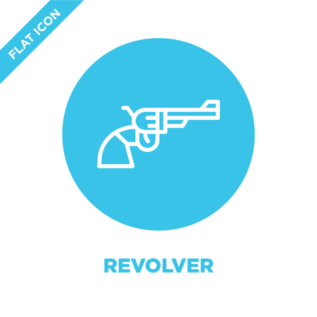 revolver icon vector from military collection. Thin line revolver outline icon vector  illustration. Linear symbol for use on web and mobile apps, logo, print media.