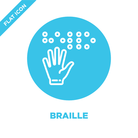 braille icon vector from accessibility collection. Thin line braille outline icon vector  illustration. Linear symbol for use on web and mobile apps, logo, print media. Stock Illustratie