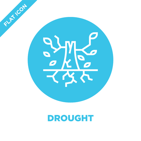drought icon vector from global warming collection. Thin line drought outline icon vector  illustration. Linear symbol for use on web and mobile apps, logo, print media.
