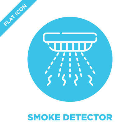 smoke detector icon vector from smart home collection. Thin line smoke detector outline icon vector  illustration. Linear symbol for use on web and mobile apps, logo, print media. Illustration