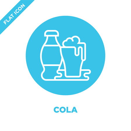 cola icon vector from beverage collection. Thin line cola outline icon vector  illustration. Linear symbol for use on web and mobile apps, logo, print media.