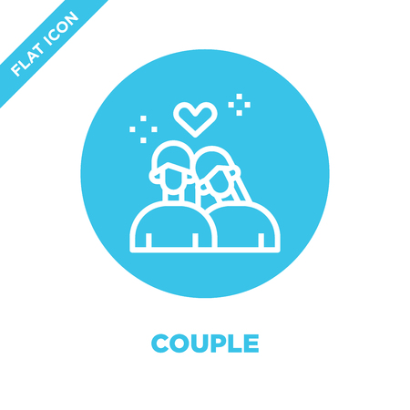 couple icon vector from love collection. Thin line couple outline icon vector  illustration. Linear symbol for use on web and mobile apps, logo, print media. Illustration