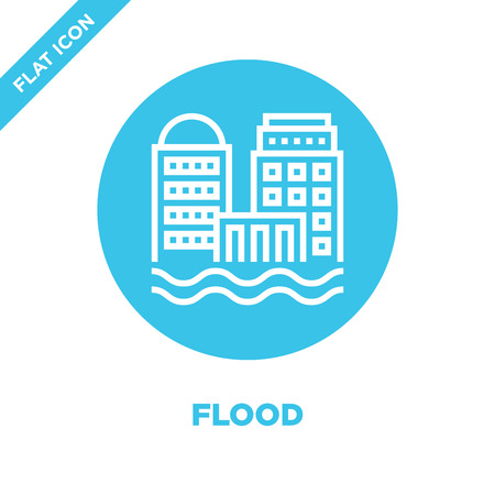 flood icon vector from global warming collection. Thin line flood outline icon vector illustration. Linear symbol for use on web and mobile apps, logo, print media.