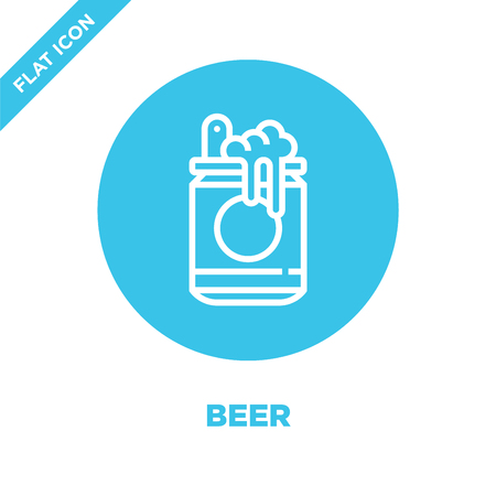 beer icon vector from beverage collection. Thin line beer outline icon vector  illustration. Linear symbol for use on web and mobile apps, logo, print media. Banque d'images - 123243094