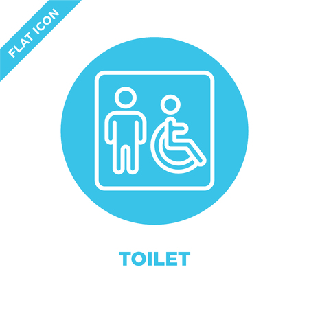 toilet icon vector from accessibility collection. Thin line toilet outline icon vector  illustration. Linear symbol for use on web and mobile apps, logo, print media. Illustration