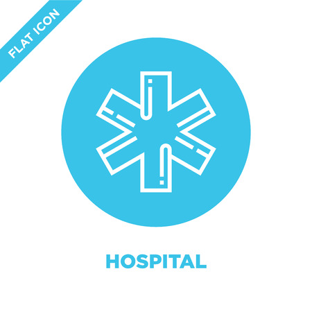 hospital sign icon vector from healthy life collection. Thin line hospital sign outline icon vector  illustration. Linear symbol for use on web and mobile apps, logo, print media. Ilustração
