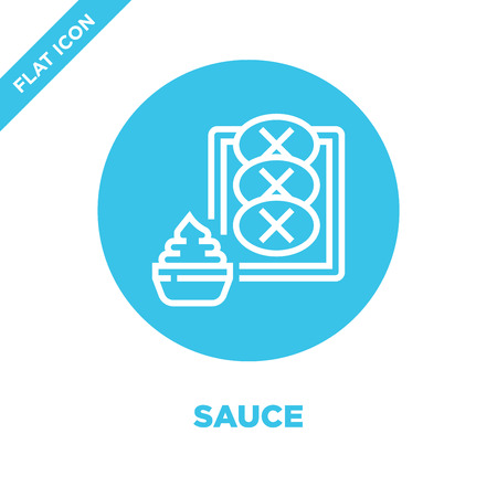 sauce icon vector from bbq and grill collection. Thin line sauce outline icon vector  illustration. Linear symbol for use on web and mobile apps, logo, print media. Banque d'images - 123243374