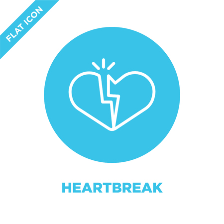 heartbreak icon vector from love collection. Thin line heartbreak outline icon vector illustration. Linear symbol for use on web and mobile apps, logo, print media.