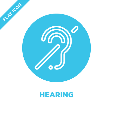 hearing icon vector from accessibility collection. Thin line hearing outline icon vector  illustration. Linear symbol for use on web and mobile apps, logo, print media. Ilustrace