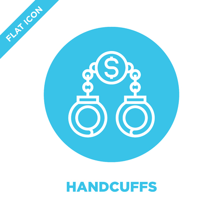handcuffs icon vector from corruption elements collection. Thin line handcuffs outline icon vector  illustration. Linear symbol for use on web and mobile apps, logo, print media. Illustration