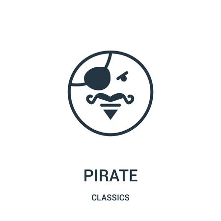 vettore icona pirata dalla collezione di classici. Illustrazione di vettore dell'icona di contorno pirata di linea sottile. Simbolo lineare da utilizzare su app web e mobili, logo, supporti di stampa. Logo