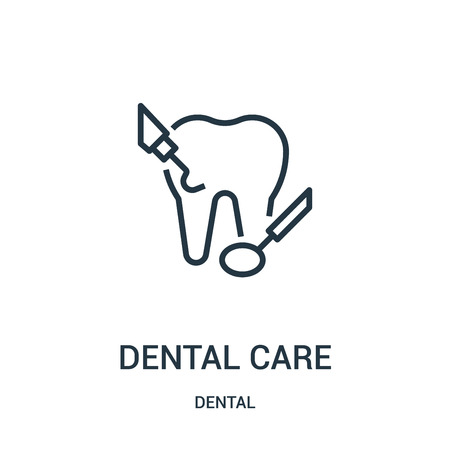 dental care icon vector from dental collection. Thin line dental care outline icon vector illustration. Linear symbol for use on web and mobile apps, logo, print media.