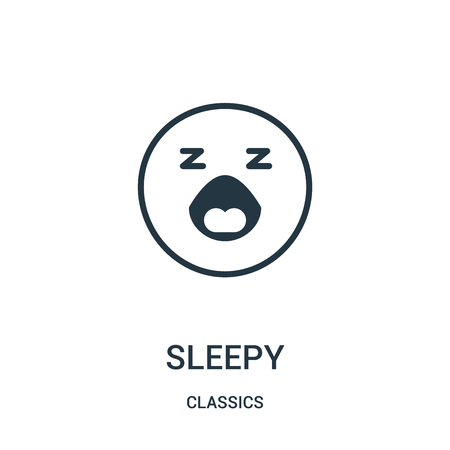 sleepy icon vector from classics collection. Thin line sleepy outline icon vector illustration. Linear symbol for use on web and mobile apps, logo, print media.