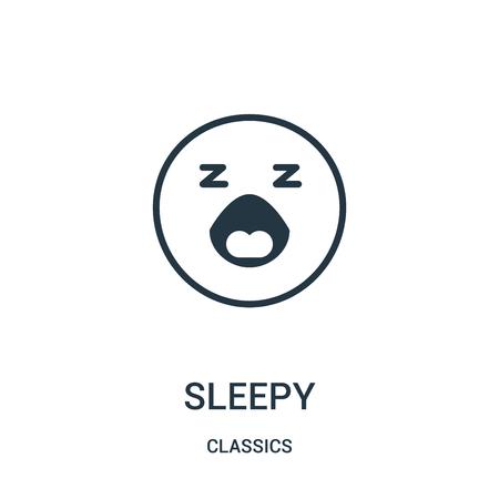 vettore icona assonnato dalla collezione di classici. Illustrazione di vettore dell'icona di profilo assonnato di linea sottile. Simbolo lineare da utilizzare su app web e mobili, logo, supporti di stampa. Logo