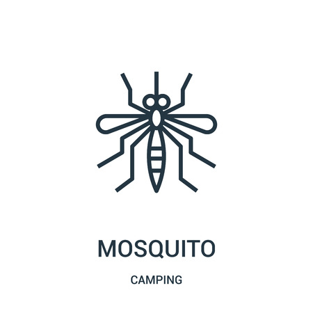 mosquito icon vector from camping collection. Thin line mosquito outline icon vector illustration. Linear symbol for use on web and mobile apps, logo, print media. Ilustracja