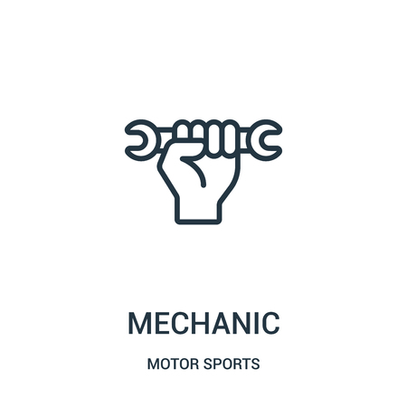 mechanic icon vector from motor sports collection. Thin line mechanic outline icon vector illustration. Linear symbol for use on web and mobile apps, logo, print media.