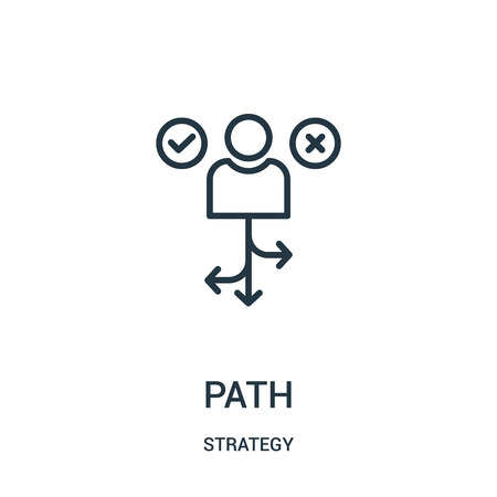 path icon vector from strategy collection. Thin line path outline icon vector illustration. Linear symbol for use on web and mobile apps, logo, print media.