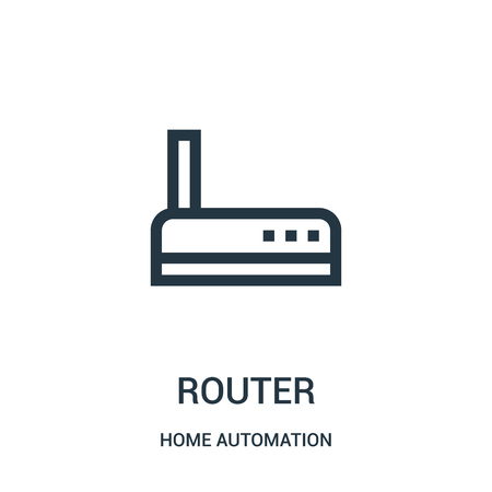 router icon vector from home automation collection. Thin line router outline icon vector illustration. Linear symbol for use on web and mobile apps, logo, print media. 写真素材 - 123468271