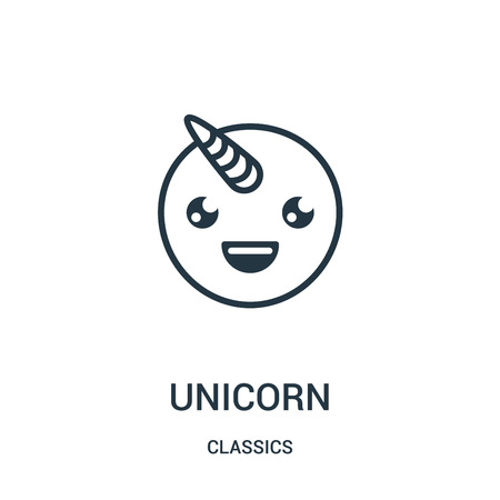 unicorn icon vector from classics collection. Thin line unicorn outline icon vector illustration. Linear symbol for use on web and mobile apps, logo, print media.