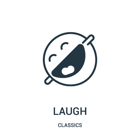 laugh icon vector from classics collection. Thin line laugh outline icon vector illustration. Linear symbol for use on web and mobile apps, logo, print media. Vettoriali