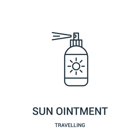 sun ointment icon vector from travelling collection. Thin line sun ointment outline icon vector illustration. Linear symbol for use on web and mobile apps, logo, print media. Иллюстрация