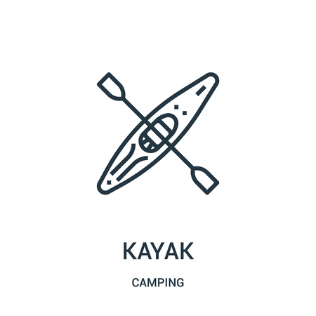 kayak icon vector from camping collection. Thin line kayak outline icon vector illustration. Linear symbol for use on web and mobile apps, logo, print media.