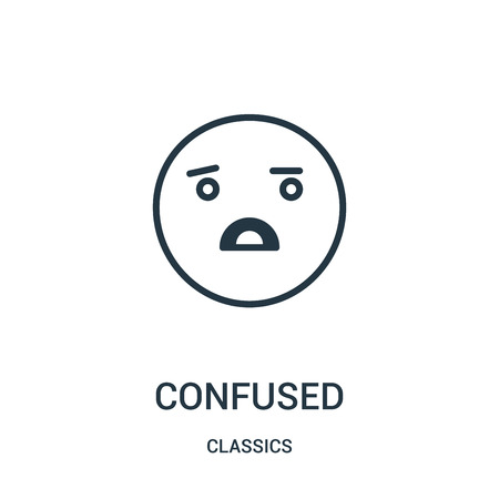 confused icon vector from classics collection. Thin line confused outline icon vector illustration. Linear symbol for use on web and mobile apps, logo, print media.