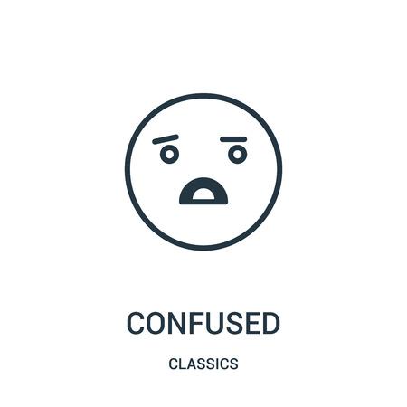 vettore icona confuso dalla collezione di classici. Illustrazione di vettore dell'icona di contorno confuso di linea sottile. Simbolo lineare da utilizzare su app web e mobili, logo, supporti di stampa.