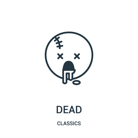 dead icon vector from classics collection. Thin line dead outline icon vector illustration. Linear symbol for use on web and mobile apps, logo, print media.