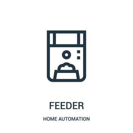 feeder icon vector from home automation collection. Thin line feeder outline icon vector illustration. Linear symbol for use on web and mobile apps, logo, print media. Illusztráció