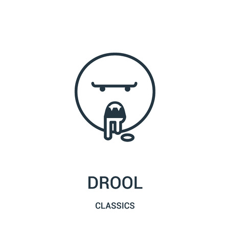 drool icon vector from classics collection. Thin line drool outline icon vector illustration. Linear symbol for use on web and mobile apps, logo, print media.