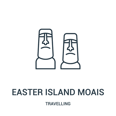 easter island moais icon vector from travelling collection. Thin line easter island moais outline icon vector illustration. Linear symbol for use on web and mobile apps, logo, print media. Illustration