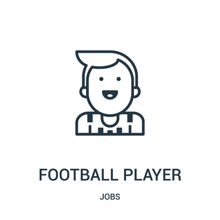 football player icon vector from jobs collection. Thin line football player outline icon vector illustration. Linear symbol for use on web and mobile apps, logo, print media.