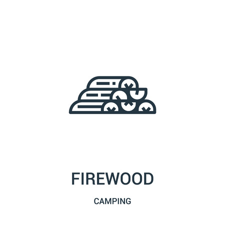 firewood icon vector from camping collection. Thin line firewood outline icon vector illustration. Linear symbol for use on web and mobile apps, logo, print media.