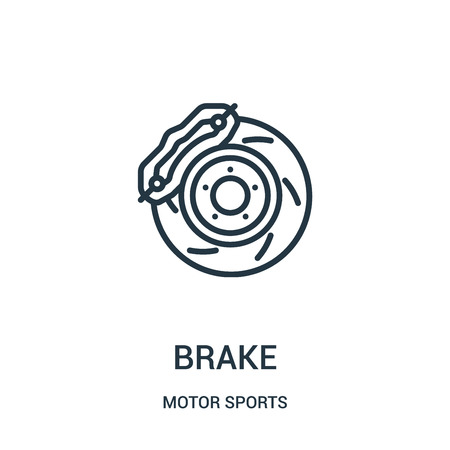 brake icon vector from motor sports collection. Thin line brake outline icon vector illustration. Linear symbol for use on web and mobile apps, logo, print media.