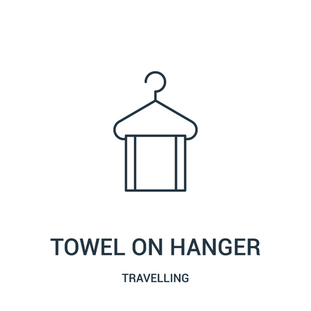 towel on hanger icon vector from travelling collection. Thin line towel on hanger outline icon vector illustration. Linear symbol for use on web and mobile apps, logo, print media. Ilustração