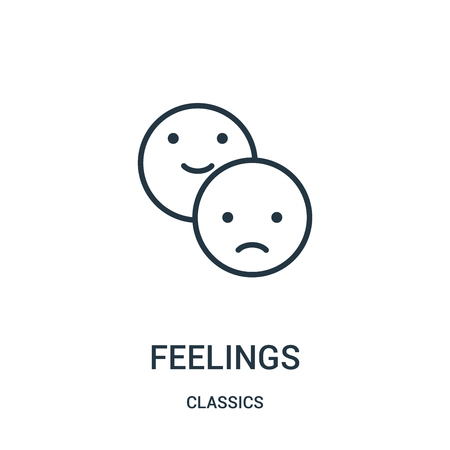 feelings icon vector from classics collection. Thin line feelings outline icon vector illustration. Linear symbol for use on web and mobile apps, logo, print media.