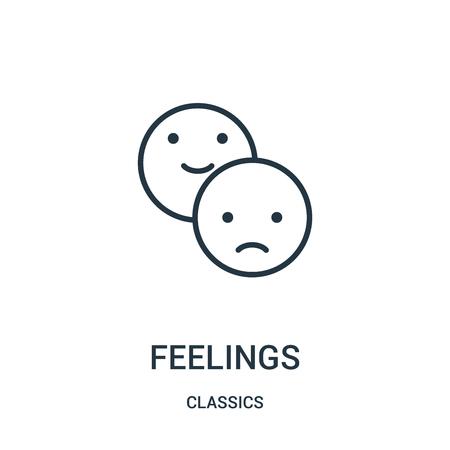 sentimenti icona vettore dalla collezione di classici. Illustrazione di vettore dell'icona di contorno di sentimenti di linea sottile. Simbolo lineare da utilizzare su app web e mobili, logo, supporti di stampa.