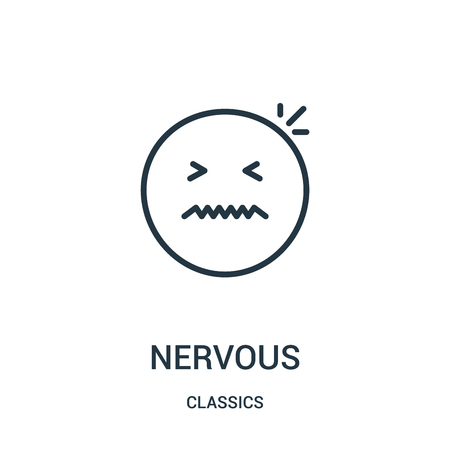 nervous icon vector from classics collection. Thin line nervous outline icon vector illustration. Linear symbol for use on web and mobile apps, logo, print media.